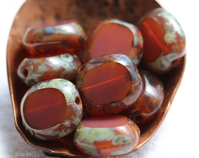 PINK OPAL TABLETS .. 10 Premium Picasso Czech Glass Oval Coin Beads 10x9mm (8127-10)