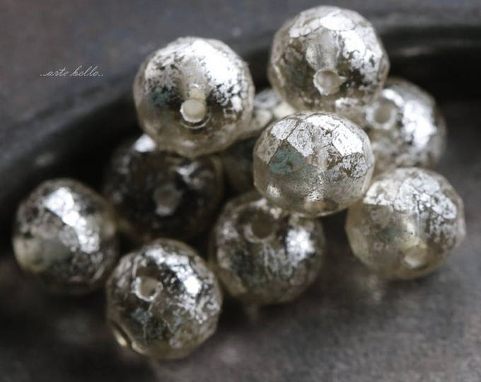 SILVERED MERCURY No. 2 .. 25 Premium Picasso Czech Glass Faceted Rondelle Beads 5x7mm (5740-25)