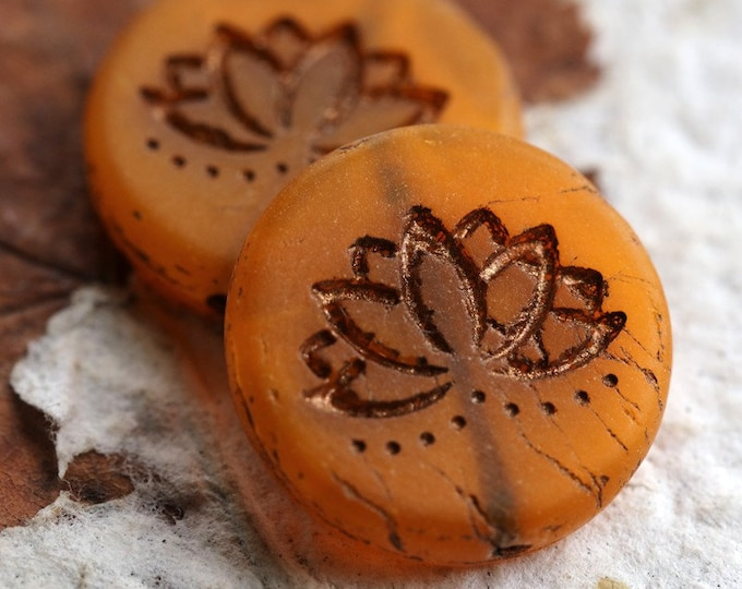 ORANGE LOTUS .. New 2 Picasso Czech Matte Glass Lotus Coin Beads 18mm (6334-2)