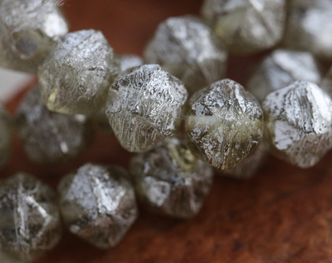 SILVERED SAGE NUGGETS .. 20 Premium Czech Mercury Glass English Cut Beads 8mm (5656-st)