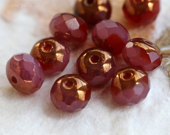 GILDED ROSEWOOD PEBBLES .. 10 Premium Czech Glass Faceted Rondelle Beads 5x7mm (7315-10)