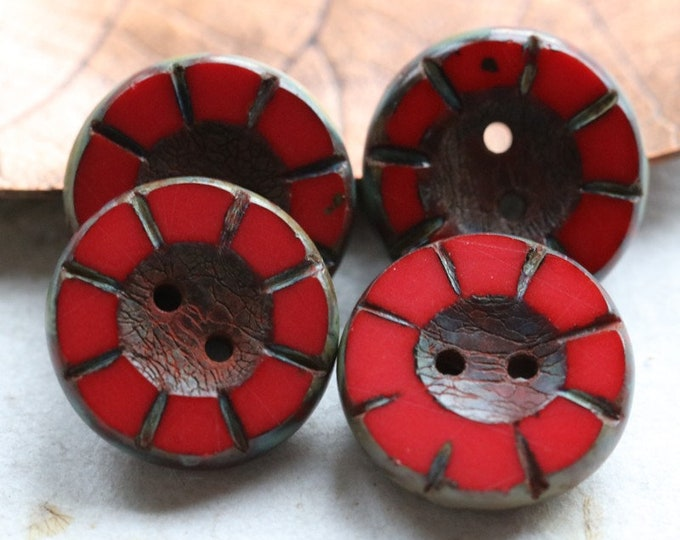 sale .. CORAL RED BUTTONS .. 4 Premium Picasso Czech Glass Coin Buttons 14x5mm (7804-4)