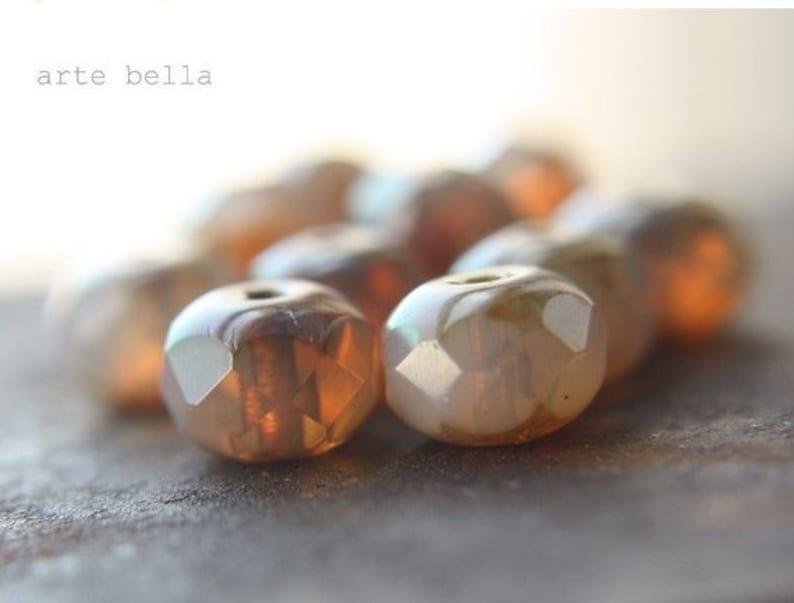 WARM HONEY OPALS .. 10 Premium Picasso Czech Glass Rondelle Beads 6x8mm (08-10) photo