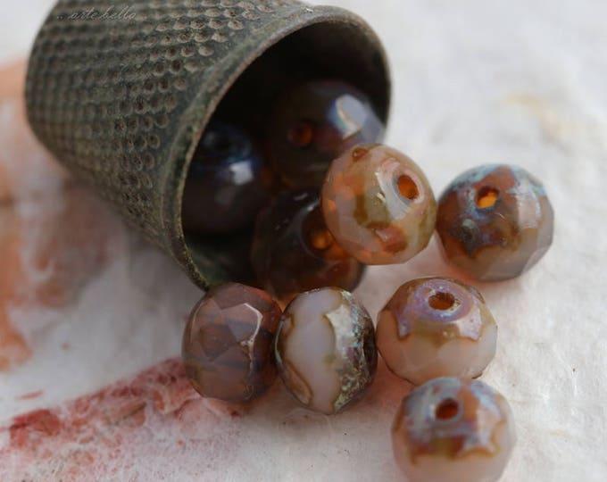 sale .. HONEY OPALS No. 2 .. 10 Premium Picasso Czech Glass Rondelle Beads 7x5mm (5819-10)