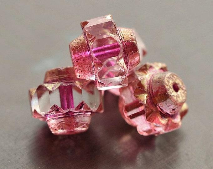 GOLDEN PRINCESS CROWNS .. 4 Premium Etched Czech Glass Crown Beads 13x15mm (8837-4)