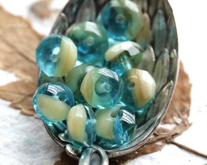 AQUA BEACH PEBBLES .. 10 Premium Czech Glass Faceted Rondelle Beads 7x5mm (8650-10)