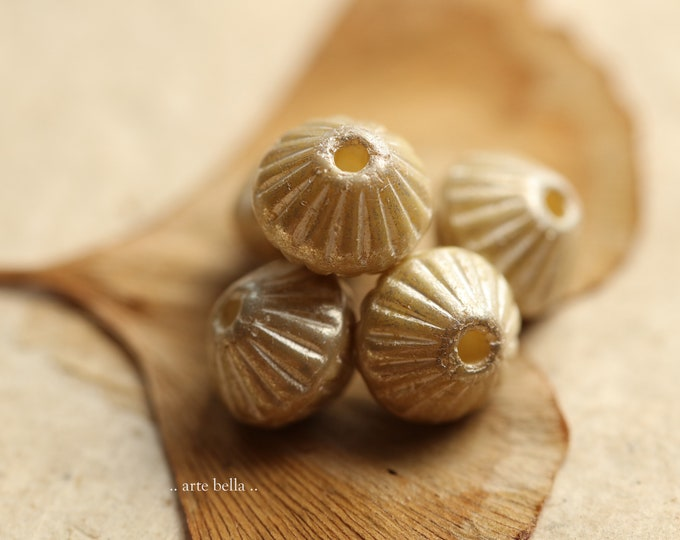 SILVERED IVORY TUTUS .. New 15 Premium Czech Glass Large Hole Fluted Bicone Beads 9mm (9096-st)