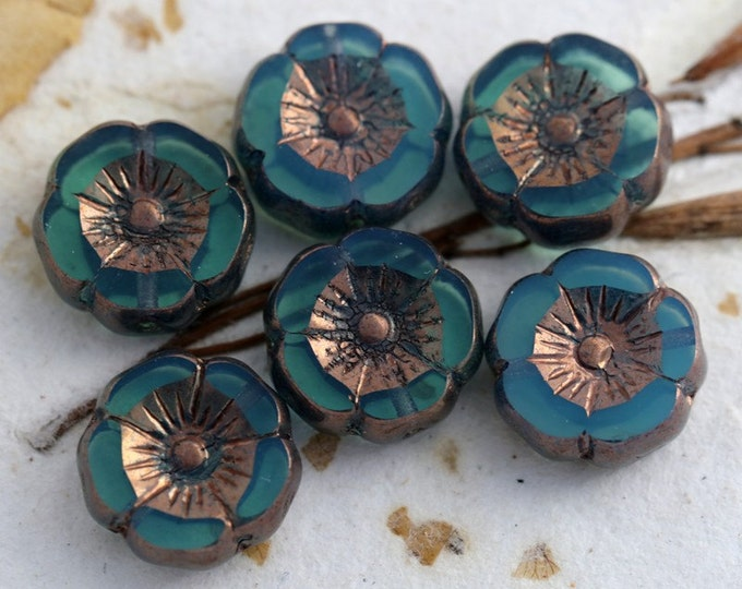 sale .. GILDED LAGOON PANSIES .. 6 Picasso Czech Glass Flower Beads 11-12mm (5477-6)