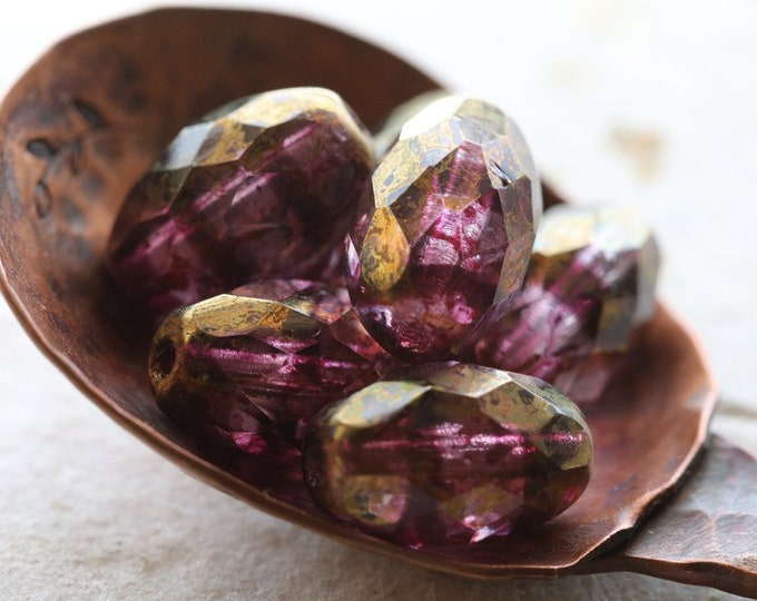 BRONZED BOYSENBERRY OLIVES .. 6 Premium Picasso Czech Glass Faceted Oval Beads 12x8mm (8352-6)