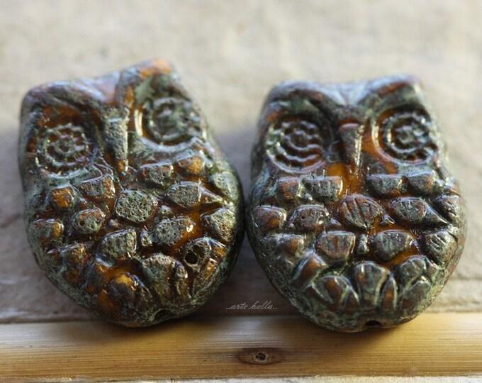 GOLDEN HOOTS .. 2 Premium Picasso Czech Glass Owl Beads 18x15mm (4544-2)