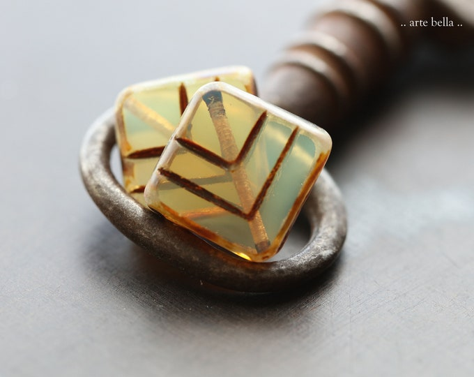 EARTHY OPAL RHOMBUS .. New 4 Premium Picasso Czech Glass Table Cut Beads 13mm (9158-4)