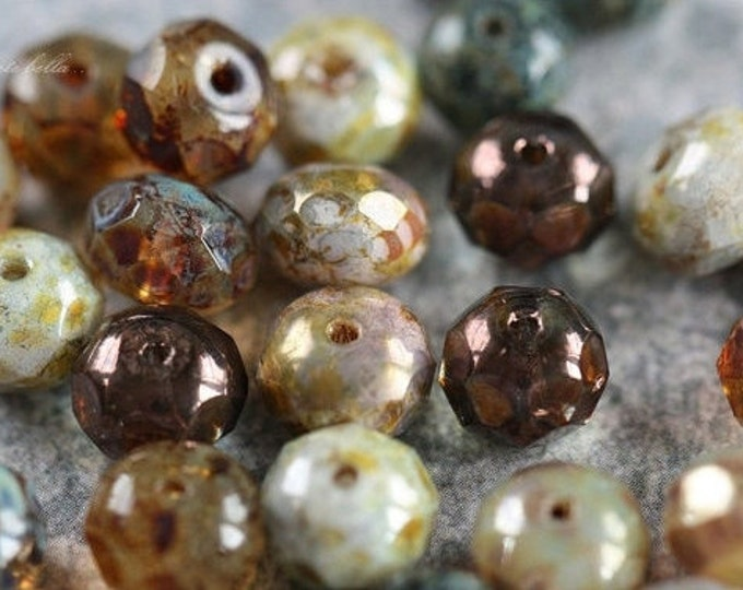 SAFARI .. 25 Picasso Mix Czech Rondelle Beads 6x8-9mm (4404-st)