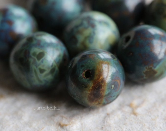 EARTHY MARBLES 10mm .. NEW 10 Premium Picasso Czech Glass Druk Beads (6469-10)