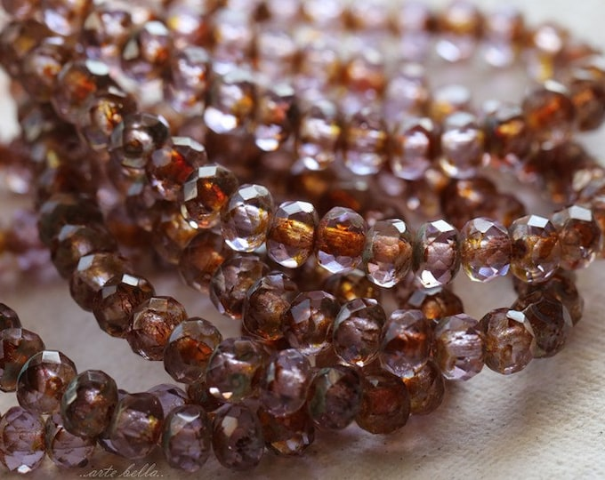 LILAC WHISPER BABIES .. 30 Premium Picasso Czech Glass Rondelle Beads 3x5mm (4765-st)