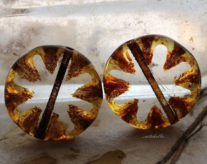 AMBER STARS .. 4 Picasso Czech Glass Round Window Beads 18mm (5356-6)