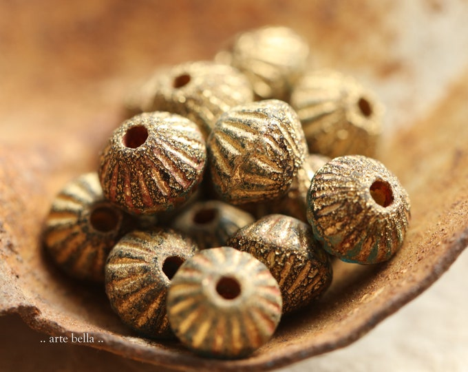 RUSTIC GOLDEN CABO Tutus .. New 15 Premium Etched Czech Glass Large Hole Fluted Bicone Beads 9mm (9094-st)