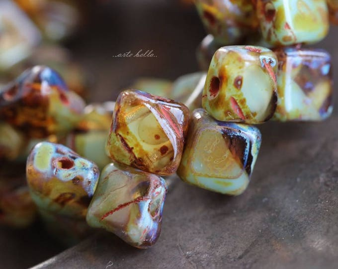 AGED SQUARES .. 25 Picasso Glass Silky Tile Square Beads 6mm (5875-st)