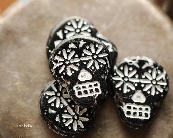 SILVERED BLACK SKULLS .. New 4 Premium Czech Glass Sugar Skull Beads 20x17mm (9112-4)