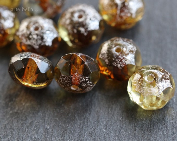 sale .. SILVERED AMBER and GRAY No. 2 .. 10 Premium Czech Glass Faceted Rondelle Beads 6x8mm (7305-10)