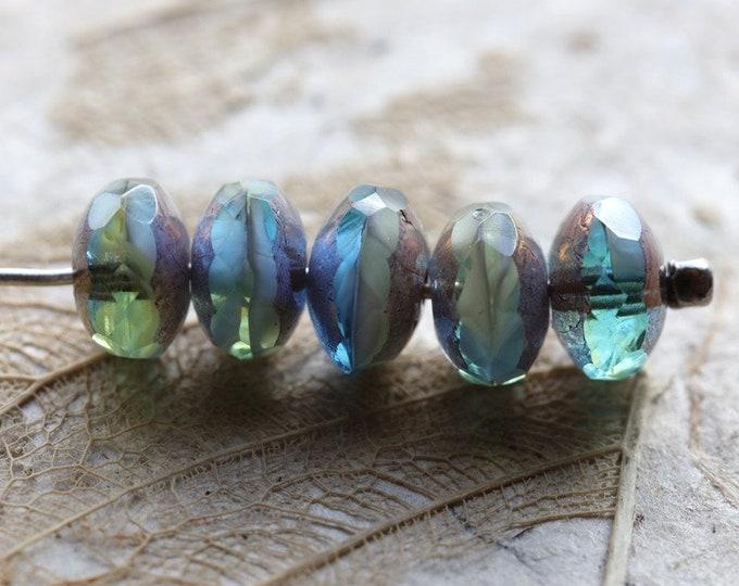 BRONZED AQUA APPLE Pebbles .. 10 Premium Czech Glass Faceted Rondelle Beads 5x7mm (8653-10)