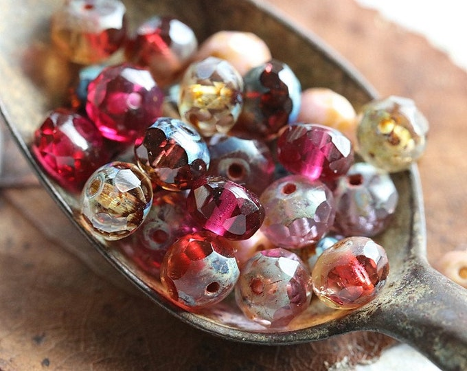 ROSE WATER PEBBLES .. 30 Premium Picasso Czech Glass Faceted Rondelle Mix Beads 5x7mm (6842-30)