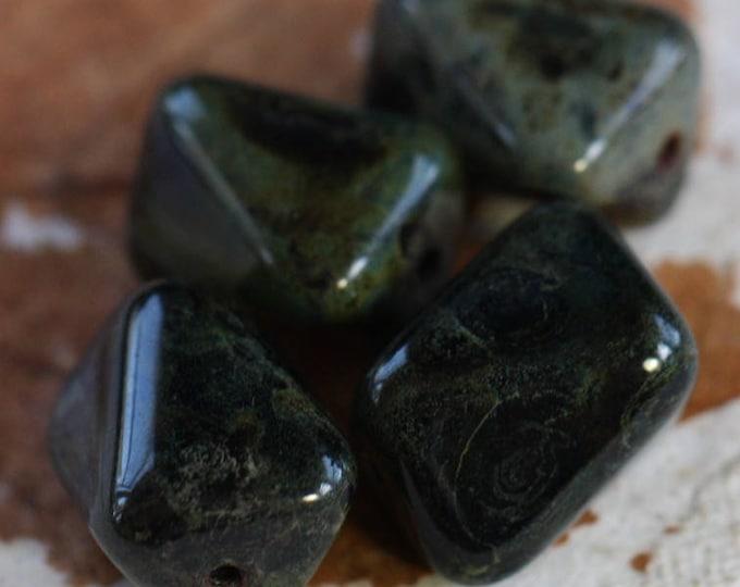 sale .. TWILIGHT NUGGETS .. 4 Premium Czech Picasso Glass Beads 10x13mm (B9004-4)