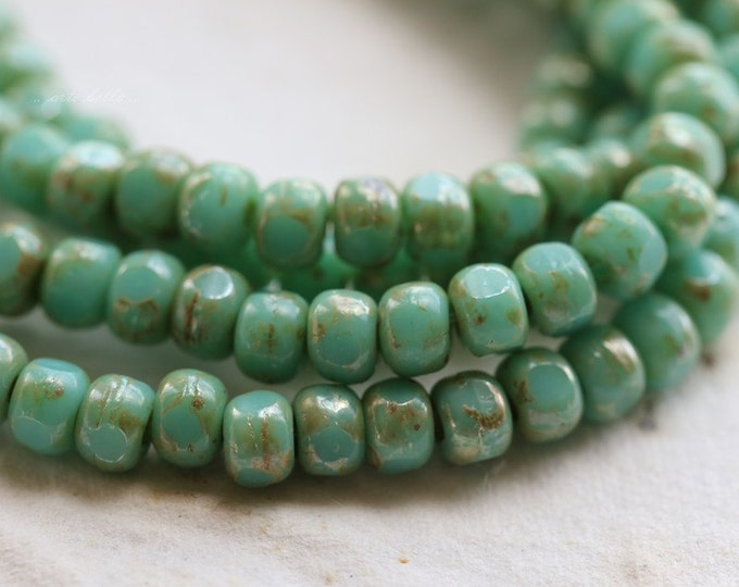 sale .. SILVERED TURQUOISE SEEDS .. 50 Picasso Czech Glass Tri-Cut Seed Bead Size 6/0 (5259-st)