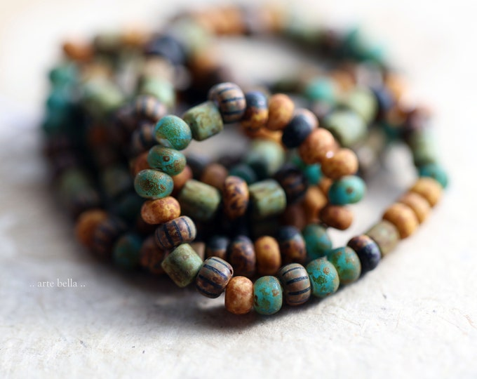 """OLD WORLD SEEDS No. 9185 .. New 21"""" Premium Matte Picasso Czech Glass Aged Striped Seed Bead Mix Size 6/0 (9185-st)"""