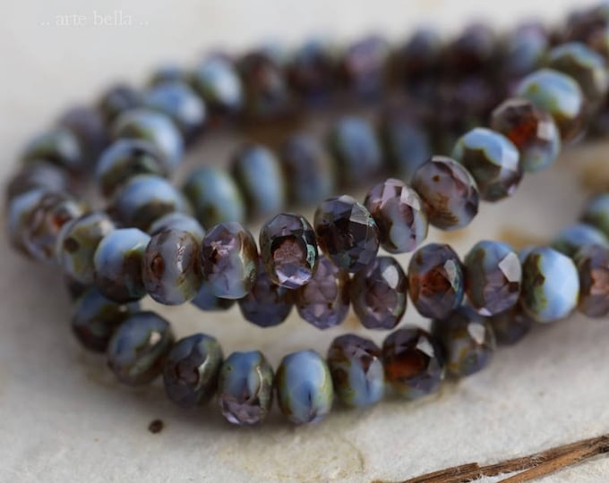 LOBELIA BABIES  .. 30 Premium Picasso Czech Rondelle Glass Beads 3x5mm (6037-st)