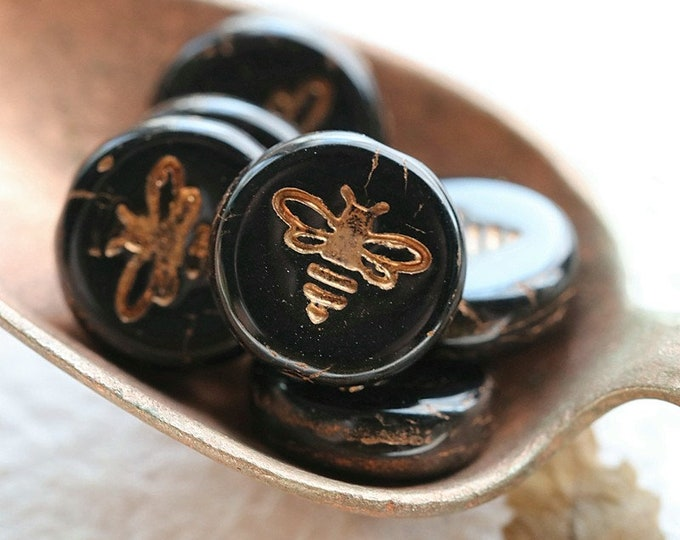 BRONZED BLACK BIZZY B .. 5 Premium Czech Glass Bee Coin Beads 12mm (8478-5)