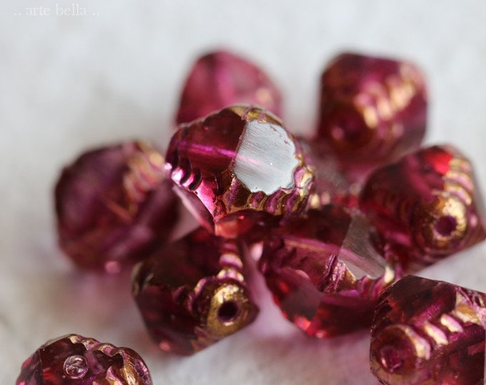 BRONZED SANGRIA TINK .. 10 Premium Picasso Czech Glass Faceted Bicone Beads 8x10mm (7880-10)