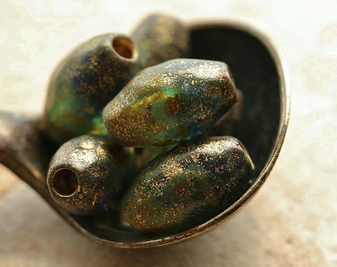 Rustic GOLDEN PACIFIC OLIVES .. 6 Premium Etched Picasso Czech Glass Faceted Oval Beads 11x7mm (8894-6)