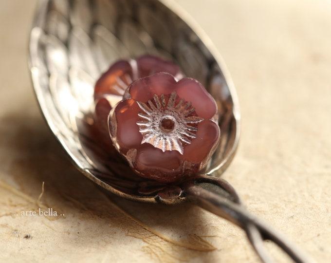 PINK ROSE BLOOMS .. New 6 Premium Czech Glass Hibiscus Flower Beads 12mm (9041-6)