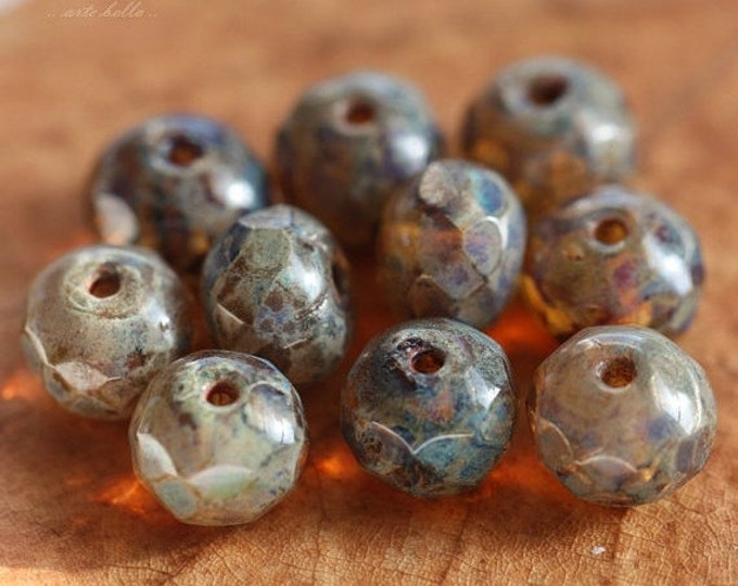 HONEY PICASSO .. 10 Premium Picasso Czech Glass Rondelle Beads 5x7mm (176-10)