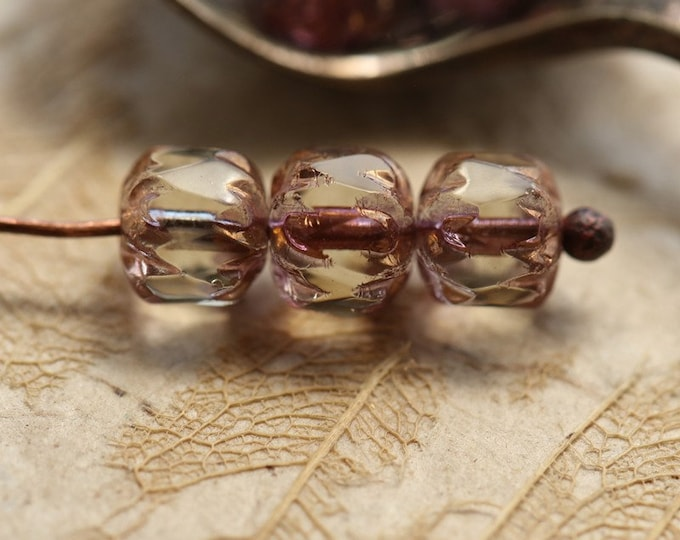 BRONZED PINK CATHEDRALS .. New 10 Premium Czech Glass Faceted Cathedral Beads 6x5mm (8915-10)