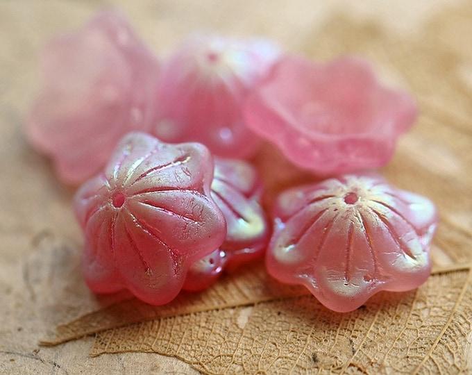 MYSTIC PINK WHIMSY .. New 6 Premium Matte Czech Glass Bell Flower Beads 14x6mm (8912-6)