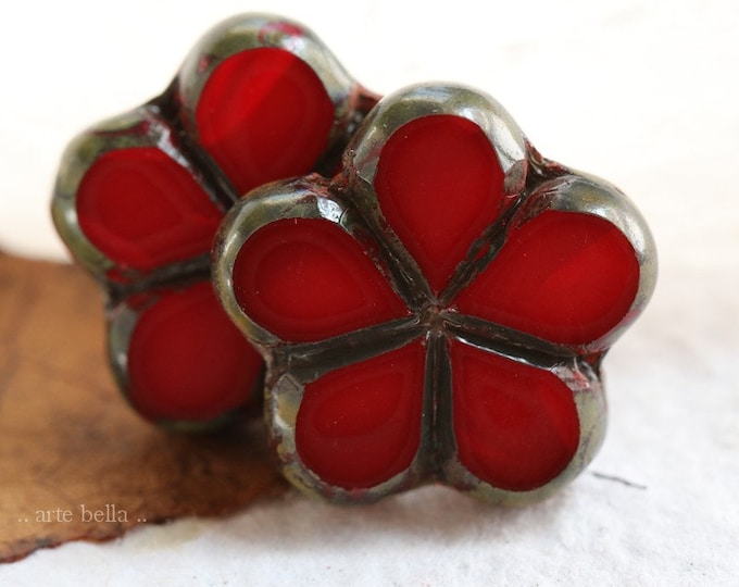 RED PEPPER POSIES .. 2 Premium Picasso Czech Glass Flower Beads 17mm (7996-2)