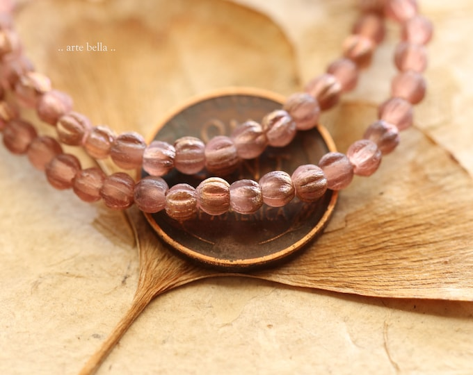 COPPERED ROSE MINI Melons .. New 50 Premium Etched Czech Glass Melon Beads 3mm (9154-50)