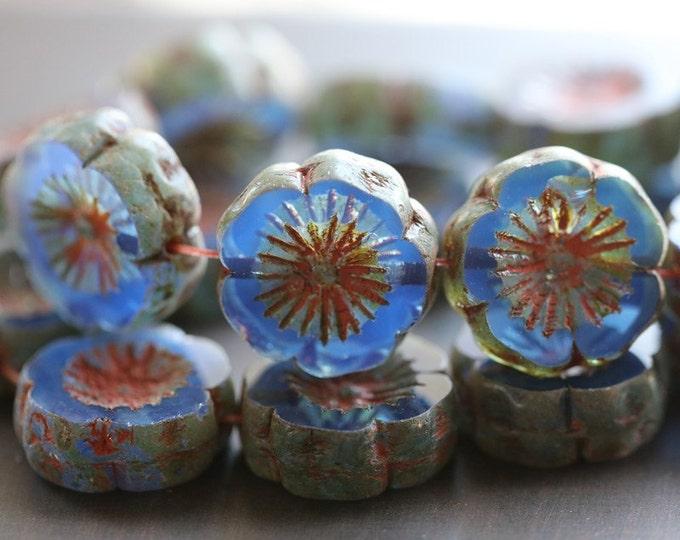 SAPPHIRE PANSIES .. 4 Premium Picasso Czech Glass Hibiscus Flower Beads 14-15mm (4659-4)