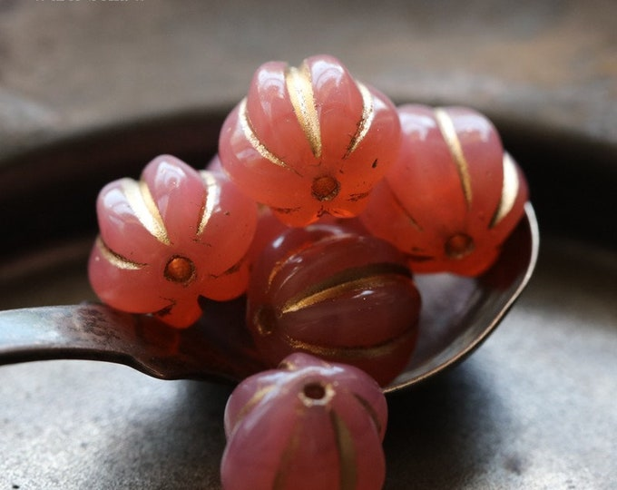 GILDED PINK MELONS 10mm .. 6 Premium Picasso Czech Glass Melon Beads (7181-6)