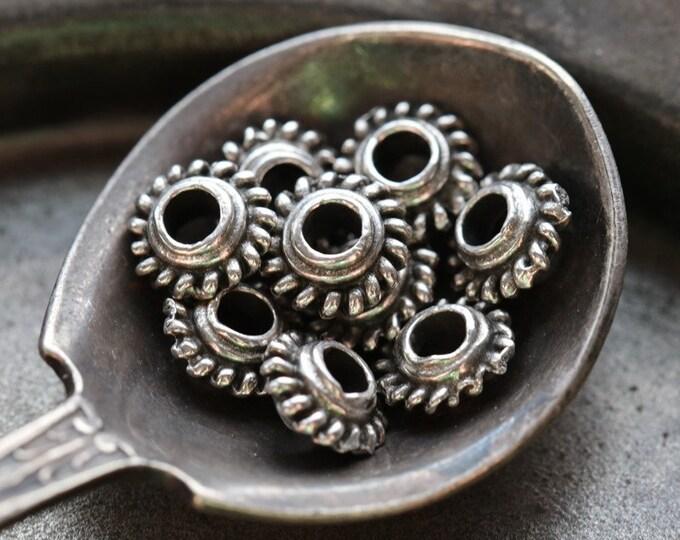 PEWTER GROVER SPACERS .. 10 Mykonos Greek Bali Style Spacer Beads 6.5mm (M242-10)