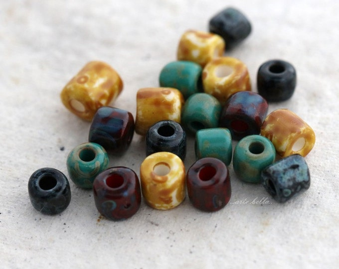 sale .. SEED BEAD MIX No. 5375 .. 40 Premium Picasso Czech Glass Tube Seed Bead Mix (5375-40)