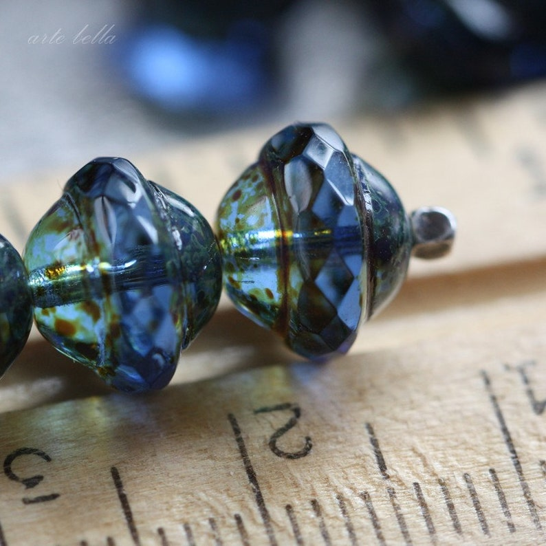 SAPPHIRE BLISS .. 10 Premium Picasso Czech Glass Saturn Beads 8x10mm (3541-10) photo