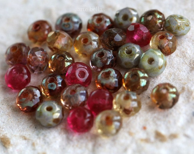 ROSE WATER BABIES .. 30 Premium Picasso Czech Glass Rondelle Bead Mix 3x5mm (6808-30)