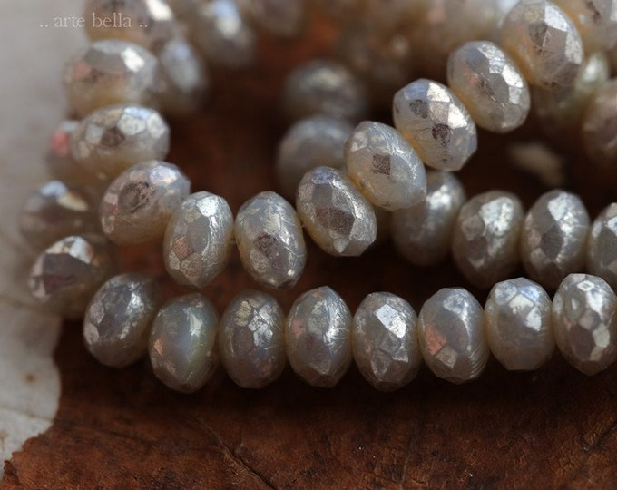 SILVERED GREY BABIES .. 30 Premium Picasso Czech Mercury Glass Rondelle Beads 3x5mm (6888-st)