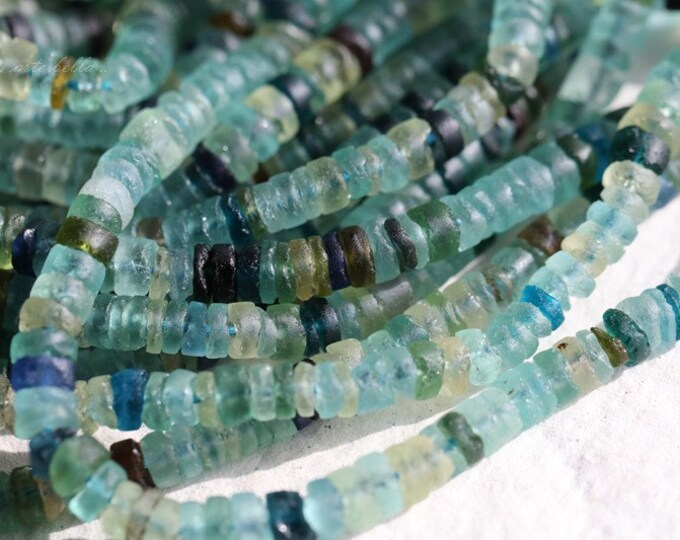 ANCIENT ROMAN GLASS No. 159 .. Genuine Antique Roman Glass Heishe Rondelle Beads (rg-159)