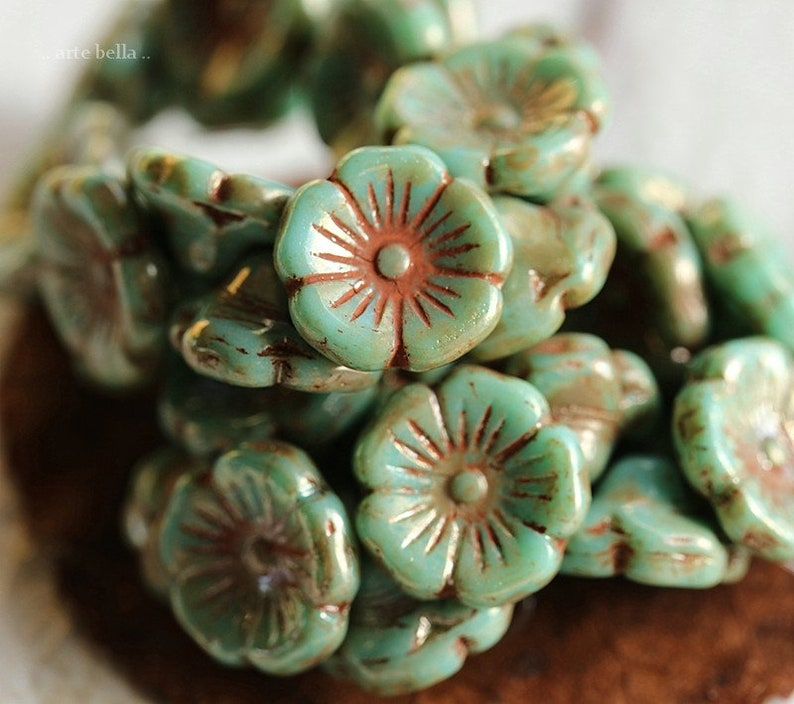 BLOOMING TURQUOISE .. 15 Premium Picasso Czech Glass Flower Button Beads 12mm (4205-15) photo