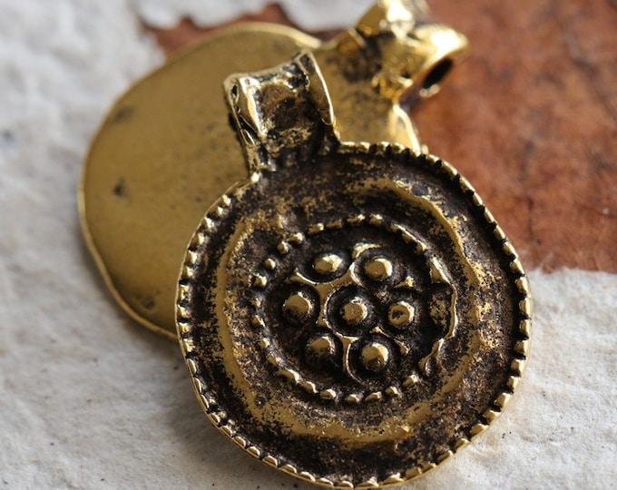 ANTIQUE GOLD FLORAL Medallion No. 116 .. 1 Mykonos Greek Round Charm Pendant Bead 19x24mm (M116-1)