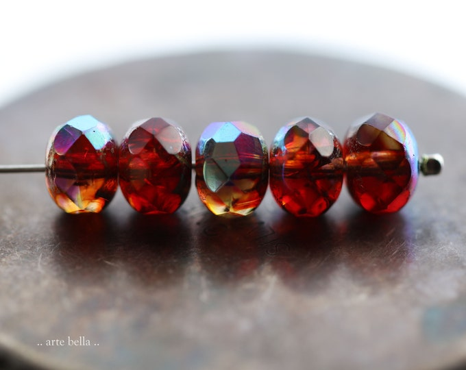 MYSTIC UMBRIAN SUNSET .. New 10 Premium Czech Glass Faceted Rondelle Beads 8x6mm (9194-10)