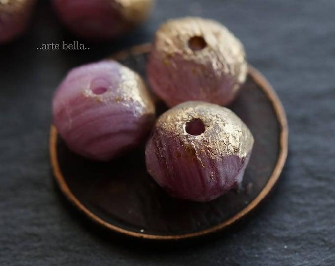 sale .. GOLDEN PINK STONES .. 10 Premium Stone Picasso Czech Glass Beads 6x8mm (6021-10)